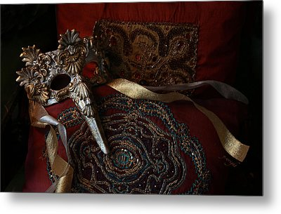 After The Ball - Venetian Mask Metal Print by Yvonne Wright