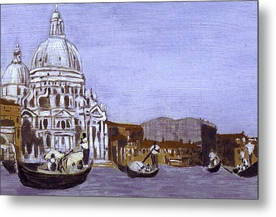After The Grand Canal And The Church Of The Salute Metal Print by Hyper - Canaletto