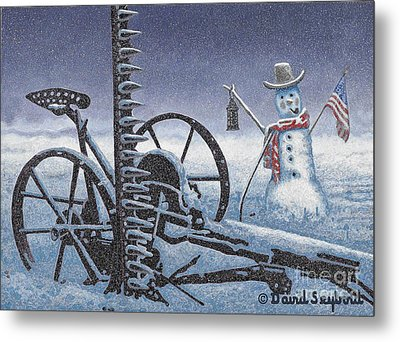 After The Harvest Snowman Metal Print by John Stephens