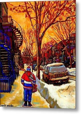 After The Hockey Game A Winter Walk At Sundown Montreal City Scene Painting  By Carole Spandau Metal Print by Carole Spandau