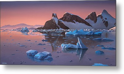 Afterglow Lemarie Channel Antarctica Metal Print by Cliff Wassmann