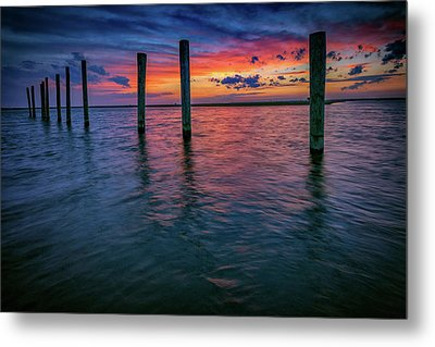 Afterglow On Great South Bay Metal Print by Rick Berk