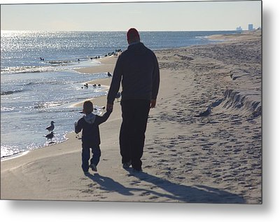 Afternoon Beach Walk Metal Print by Russell Ford