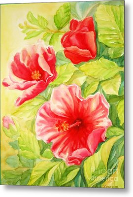 Metal Print featuring the painting Afternoon Hibiscus by Inese Poga