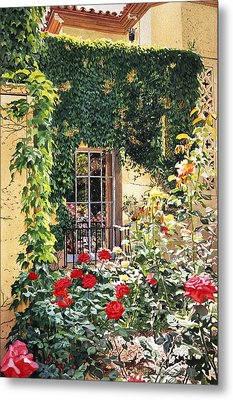 Afternoon In The Rose Garden Metal Print by David Lloyd Glover