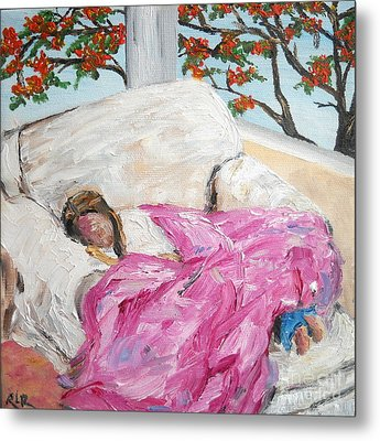 Metal Print featuring the painting Afternoon Nap At Grandmas by Reina Resto