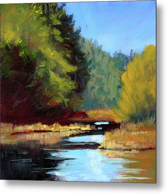 Metal Print featuring the painting Afternoon On The River by Nancy Merkle