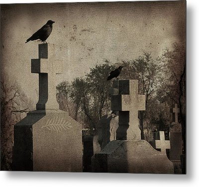 Aged Graveyard Scene Metal Print by Gothicrow Images