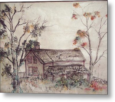 Metal Print featuring the painting Aged Wood by Debbi Saccomanno Chan