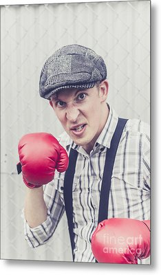 Aggressive Boxer Wearing 1920s Flat Cap Metal Print by Jorgo Photography - Wall Art Gallery