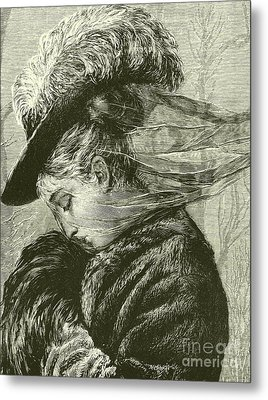 Agnes Holds Her Warm Muff To Her Face Metal Print