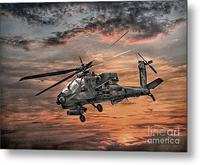 Ah-64 Apache Attack Helicopter Metal Print
