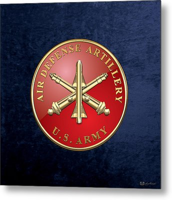 Air Defense Artillery - Ada Branch Insignia Over Blue Velvet Metal Print by Serge Averbukh