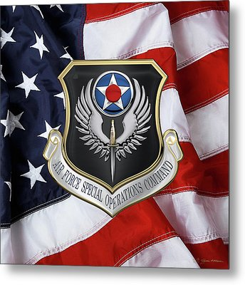 Air Force Special Operations Command -  A F S O C  Shield Over American Flag Metal Print by Serge Averbukh