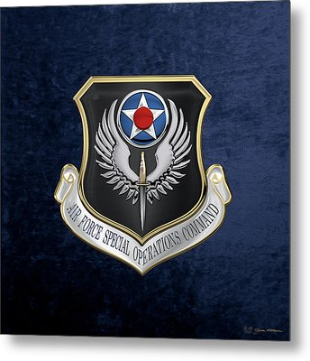 Air Force Special Operations Command -  A F S O C  Shield Over Blue Velvet Metal Print by Serge Averbukh