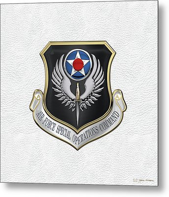 Air Force Special Operations Command -  A F S O C  Shield Over White Leather Metal Print by Serge Averbukh