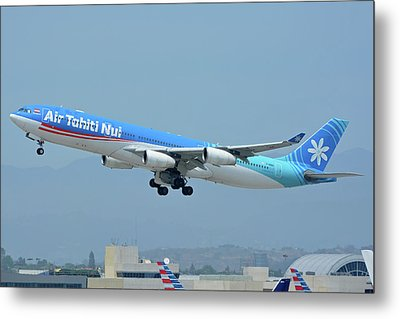 Metal Print featuring the photograph Air Tahiti Nui Airbus A340-313x F-osea Los Angeles International Airport May 3 2016 by Brian Lockett