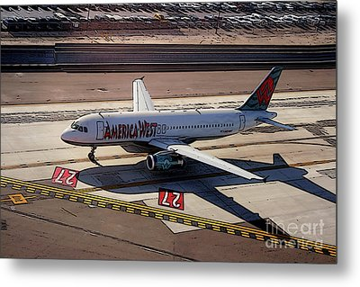 Airbus A320-231 Preparing For Takeoff America West Airlines Metal Print by Wernher Krutein