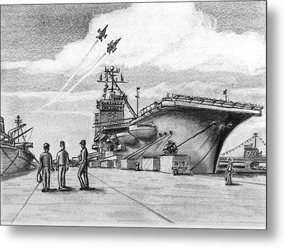 Aircraft Carrier Metal Print by Vic Delnore