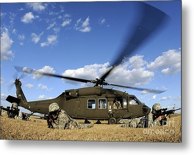 Airmen Provide Security In Front Metal Print by Stocktrek Images