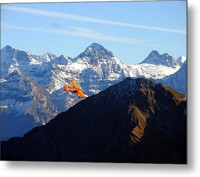 Airplane In Front Of The Alps Metal Print by Ernst Dittmar