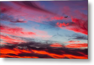 Metal Print featuring the photograph Airplane In The Sunset by April Reppucci