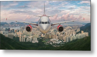 Airplane Over Hongkong Island Metal Print by Anek Suwannaphoom