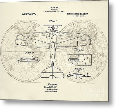 Airplane Patent Collage Metal Print by Delphimages Photo Creations
