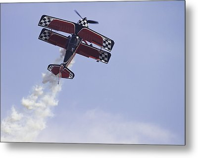 Airplane Performing Stunts At Airshow Photo Poster Print Metal Print by Keith Webber Jr