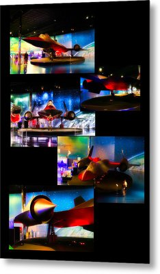 Airplanes Military Jet Sr 71 Pa Vertical Collage Metal Print by Thomas Woolworth