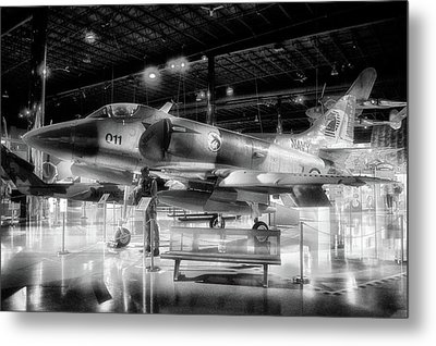 Airplanes Military Navy Jet Pa 03 Bw Metal Print by Thomas Woolworth
