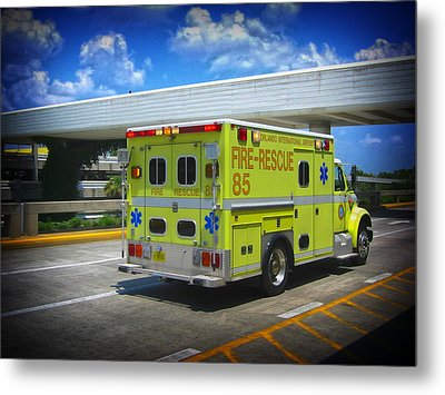Metal Print featuring the photograph Airport Ambulance by RKAB Works
