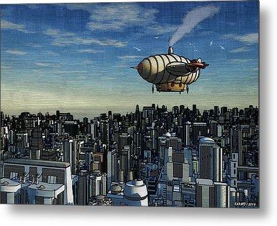 Airship Over Future City Metal Print