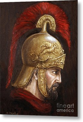 Metal Print featuring the painting Ajax by Arturas Slapsys