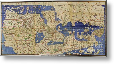 Al Idrisi World Map 1154 Metal Print by SPL and Photo Researchers