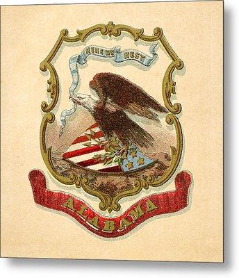 Alabama Historical Coat Of Arms Circa 1876 Metal Print