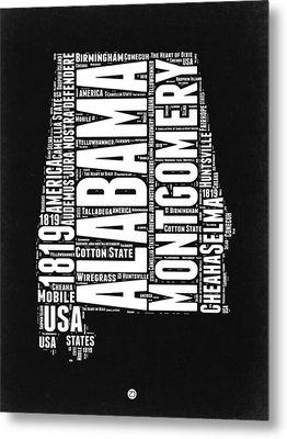 Alabama Word Cloud Black And White Map Metal Print