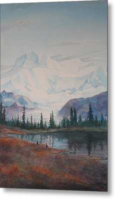 Alaksa Mountain And Lake Metal Print by Debbie Homewood