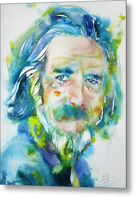 Metal Print featuring the painting Alan Watts - Watercolor Portrait.4 by Fabrizio Cassetta
