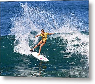 Alana Blanchard Surfing Hawaii Metal Print by Paul Topp