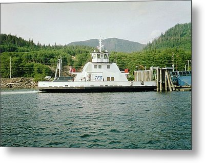 Alaska Boat At Dock Metal Print by Judyann Matthews
