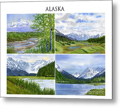 Alaska Landscape Poster Collage 3 With Heading Metal Print by Sharon Freeman