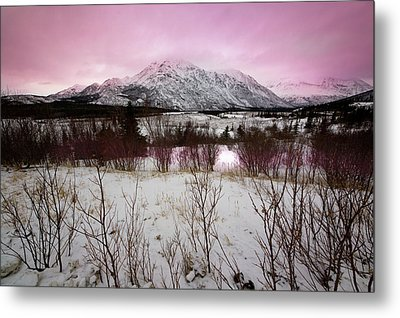 Alaska Range Pink Sky Metal Print