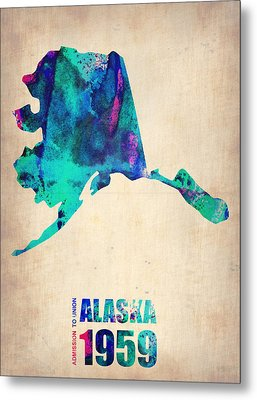 Alaska Watercolor Map Metal Print by Naxart Studio