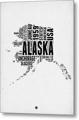 Alaska Word Cloud 2 Metal Print by Naxart Studio