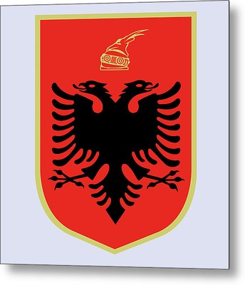 Metal Print featuring the drawing Albania Coat Of Arms by Movie Poster Prints