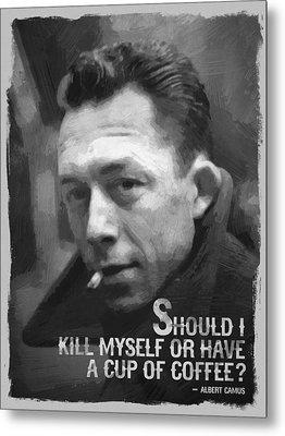 Albert Camus Quote Black White Metal Print