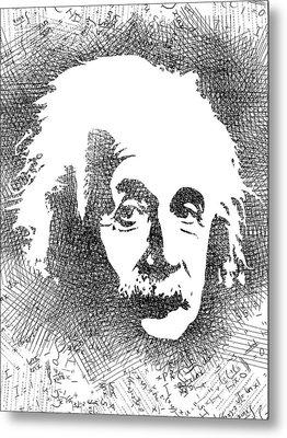 Albert Einstein Bw  Metal Print by Mihaela Pater