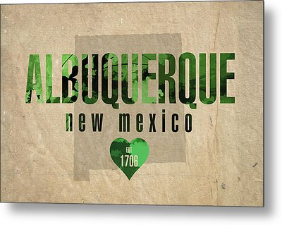 Albuquerque New Mexico City Love Established 1706 Series 005 Metal Print by Design Turnpike