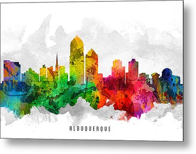 Albuquerque New Mexico Cityscape 12 Metal Print by Aged Pixel